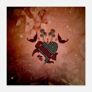 Love Heart Love heart with butterflies - Poster