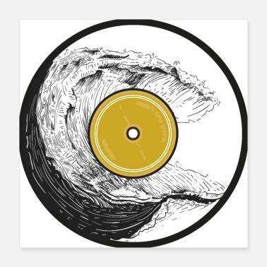 Record Vinyl record with waves pattern. - Poster