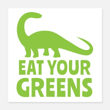 Baby Food eat your greens green brontosaurus dinosaur - Poster