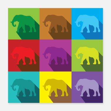Colour Coloured elephants on squares - Poster