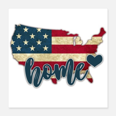 United United States with Home - Poster