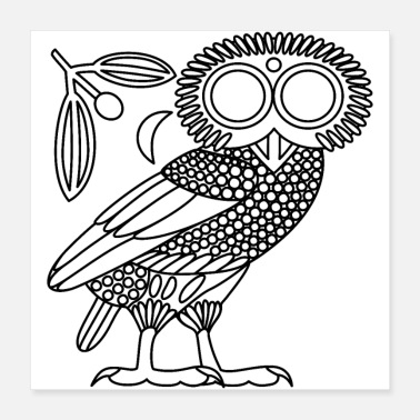 Oeroude Owl of Athena [Black Outline + Wreath & Crescent] - Poster