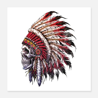 Redskin Indian skull - Poster