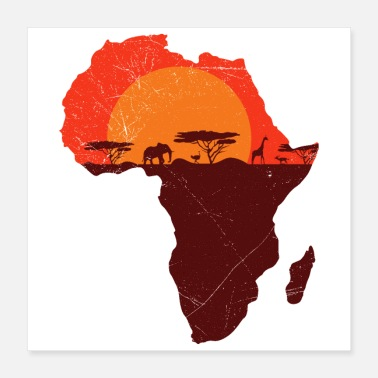 Afrika Double Exposure Art Africa Safari Morsom gave - Poster