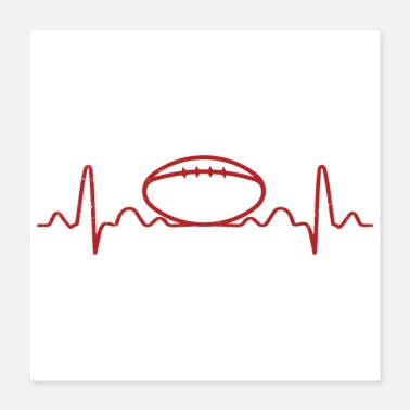 Teamsport Heartbeat rugby ball rugby player gift idea - Poster