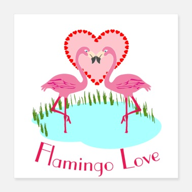 Cupido Flamingo Love - Flamingo love with hearts - Poster