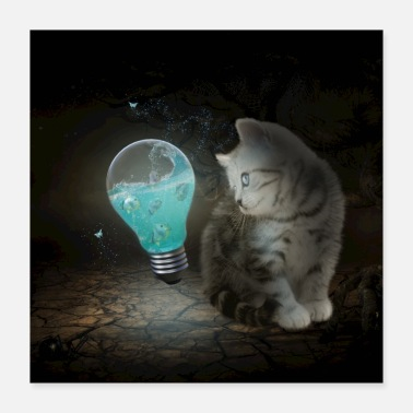 Cute Cats Cute cat with light bulb - Poster