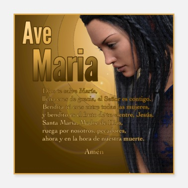 Madonna Hail Mary - Ave Maria - The prayer in Spanish - Poster