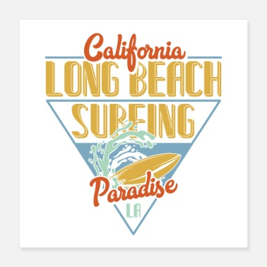 California Long Beach Surfing - Poster