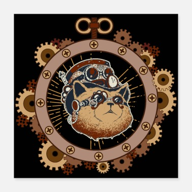 Mekaniker Steampunk katt science fiction mekanik - Poster