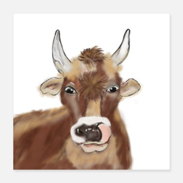 Sweet Cow 2020 cow cows ox airbrush corona face mask - Poster