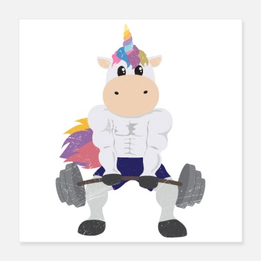 Weightlifting Unicorn Bodybuilder Weightlifting Funny Gift - Poster