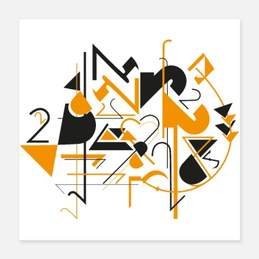 Orange Abstract art - number 2 - black and orange - Poster