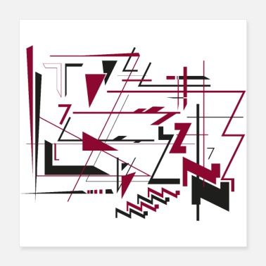 Bordeaux Abstract art - number 7 - black and bordeaux - Poster