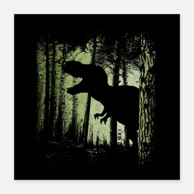 Schaduw T-Rex in de Forest Dinosaur Dino Fan-Art - Poster