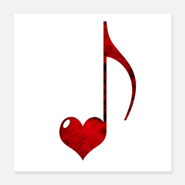 Grungy Musical Note Red Heart - Poster