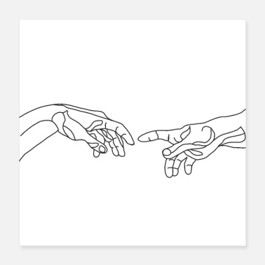 Line Drawing Michelangelo creating hand one line draw - Poster