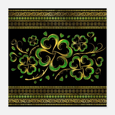 Shamrock Irish Shamrock Four-leaf Lucky Clover - Poster