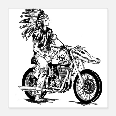Chopper Badass Motorbike Chopper - Wild Child - Motorbike - Poster