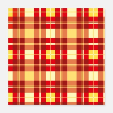 Quadrat Check pattern red yellow checkered square - Poster
