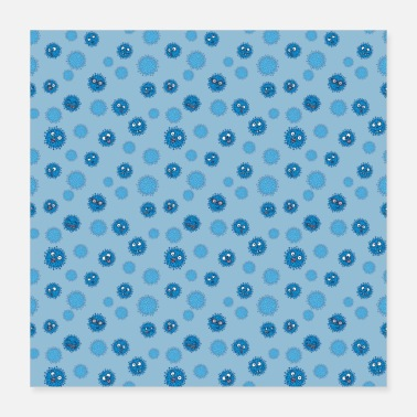 Merry Virus pattern blue for cups - Poster