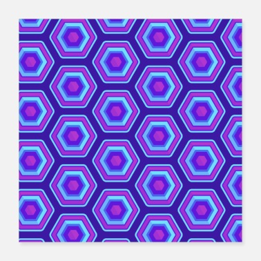 Quadrat Check pattern pink pink blue checkered neon - Poster