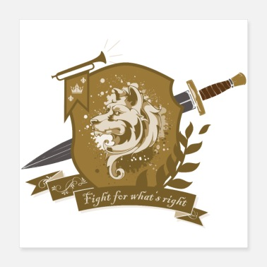 Sword Fight DogWarrior - Fight for what's right - gold - Poster