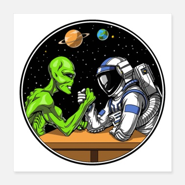 Wrestling Alien And Astronaut Arm Wrestling - Poster