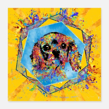 Cavaliers Cavalier King Charles Spaniel Abstract Mixed Media - Poster