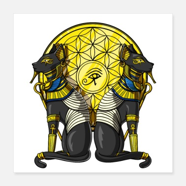 Geometry Egyptian Cats Sacred Geometry - Poster