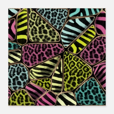 Animal Print Colorful Animal Print - Leopard and Zebra - Poster