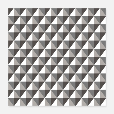 Black & Gray 3D Geometric Diamonds Pattern - Poster