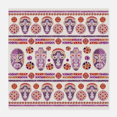 Painting Aboriginal Dot Art Tribal Masks Pattern - Poster