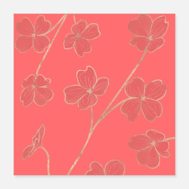Color Trend Living Coral - Floral - Poster
