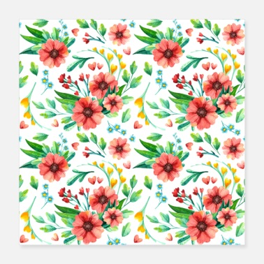 Floral Floral Pattern Beautiful Flowers Watercolor - Poster