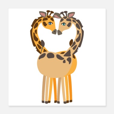 Two Giraffe Two enamored giraffes wedding gift - Poster