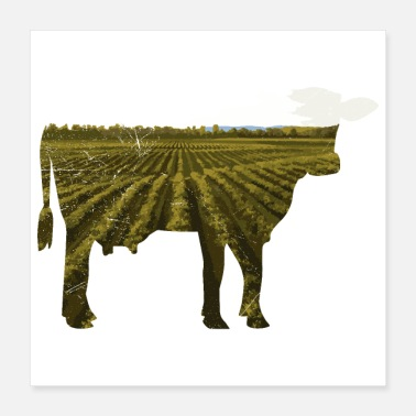 Muh Double exposure animals cow Funny gift idea - Poster