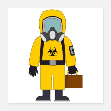 Suit Biohazard Suit with Suitcase - Poster