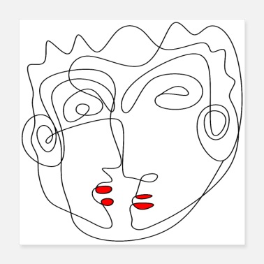 Zeichnung POSTER LINE ART FACE TWO MINIMALISTIC ART - Poster