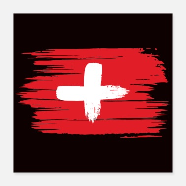 Switzerland Flag Fahne Flag Vintage Look Gift Switzerland - Poster