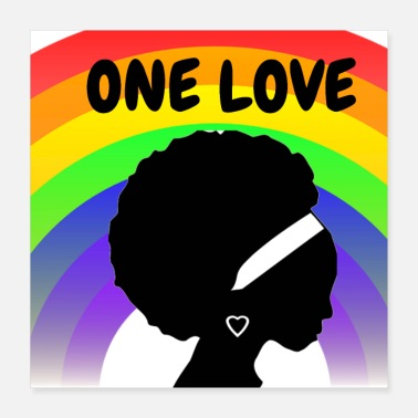 Afro One Love Rainbow Design Afro Woman - Poster