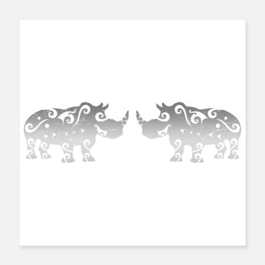 Match Maori rhino couple matching gift idea - Poster