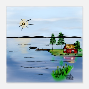 Shore BBQ on the shore of a Swedish lake - Poster