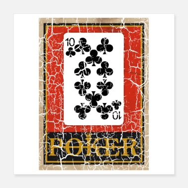À Carreaux JEU DE CARTES À JOUER TEN OF CLUBS POKER - Poster