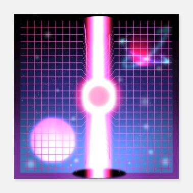 Galaxey Abstract Art - Sci-Fi Pink Laser Beam - Poster