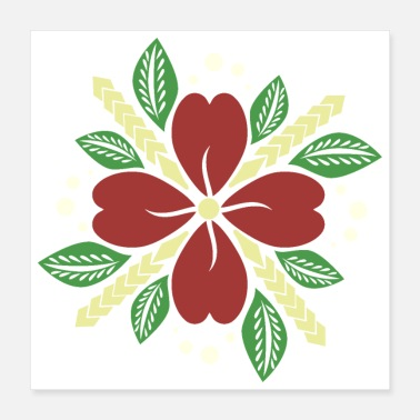 Polynesian Polynesian Flower and Leaves Tribal Tattoo Gift - Poster