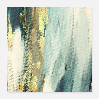 Blue Blue Paint Gold Brushstrokes Abstract Texture - Poster