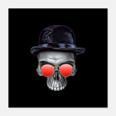 Bowler Sir skull with bowler hat - Poster