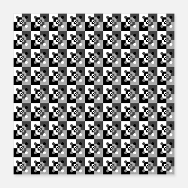 Squares Pattern squares squares in black white gray - Poster