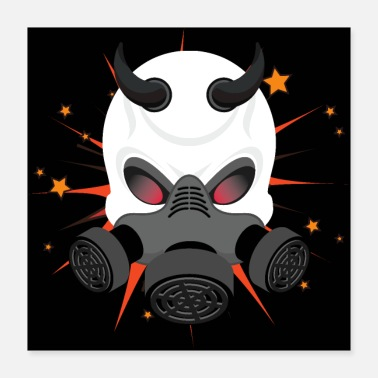 Gas Devil Wears A Gas Mask - Poster
